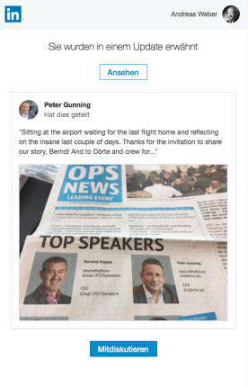 Peter Gunning Kurzreport via LinkedIn